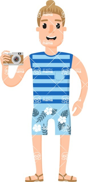 Travel Cartoon Vector Graphic Maker - Tourist guy with bun