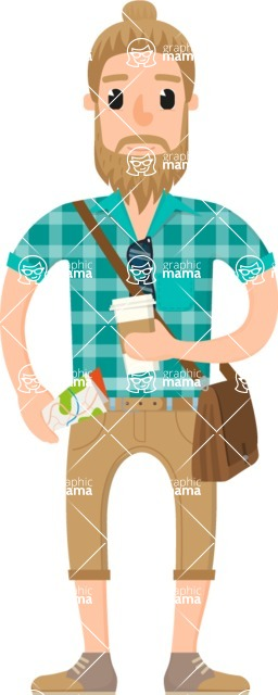Travel Cartoon Vector Graphic Maker - Hipster tourist with bun and coffee