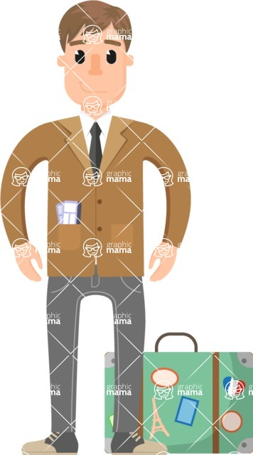 Travel Cartoon Vector Graphic Maker - Classic businessman with suitcase