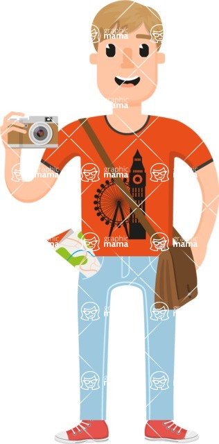 Travel Cartoon Vector Graphic Maker - Young student travelling