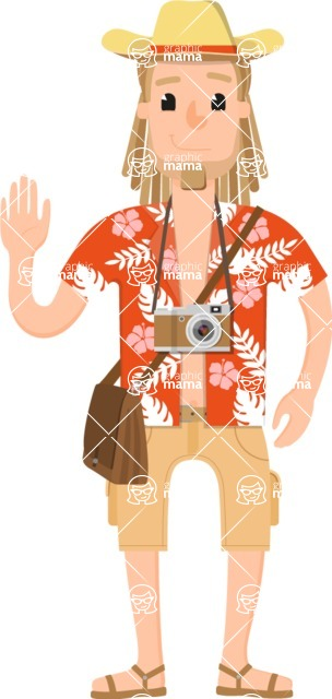Travel Cartoon Vector Graphic Maker - Summer tourist with camera and hat