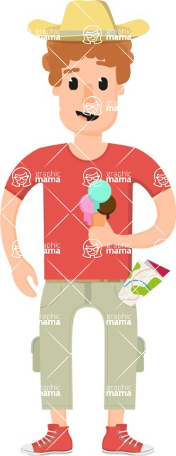 Travel Cartoon Vector Graphic Maker - Ginger tourist with ice cream
