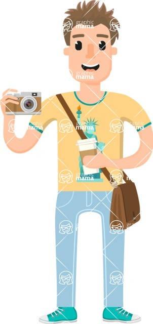 Travel Cartoon Vector Graphic Maker - Casual tourist guy with camera
