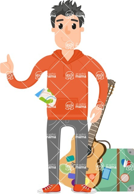 Travel Cartoon Vector Graphic Maker - Adventurer with guitar and suitcase