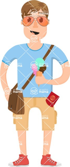Travel Cartoon Vector Graphic Maker - Tourist with ice cream and sunglasses