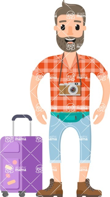 Travel Cartoon Vector Graphic Maker - Man going to a vacation