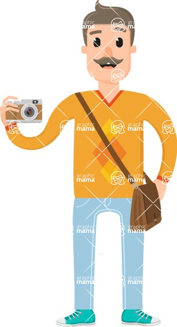 Travel Cartoon Vector Graphic Maker - Man on a vacation with a moustache