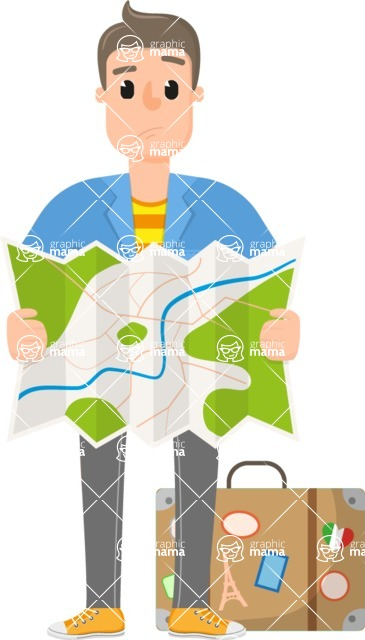 Travel Cartoon Vector Graphic Maker - Man with a map and suitcase