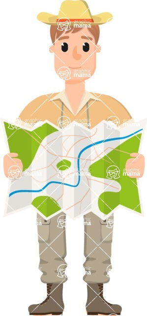 Travel Cartoon Vector Graphic Maker - Man on a Safari with a map