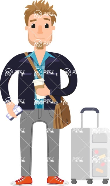 Travel Cartoon Vector Graphic Maker - Traveler man with coffee and suitcase
