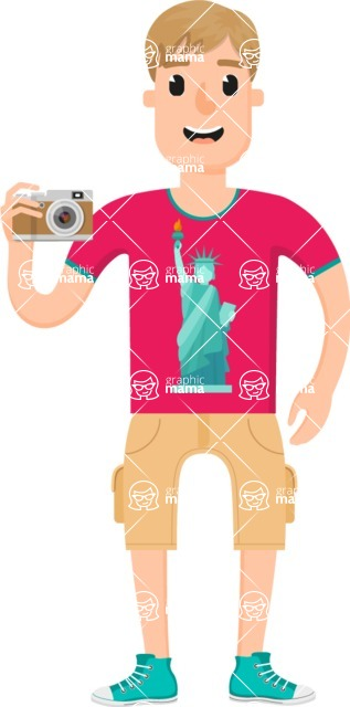 Travel Cartoon Vector Graphic Maker - American Tourist