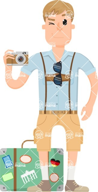 Travel Cartoon Vector Graphic Maker - Traveler shooting with a camera