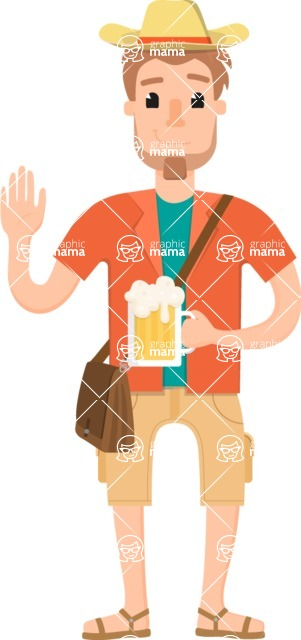 Travel Cartoon Vector Graphic Maker - Traveler drinking beer
