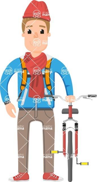 Travel Cartoon Vector Graphic Maker - Traveler guy with bike and rucksack