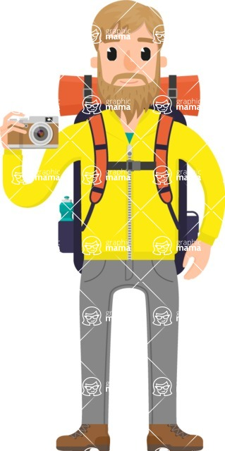 Travel Cartoon Vector Graphic Maker - Hiker in the mountain
