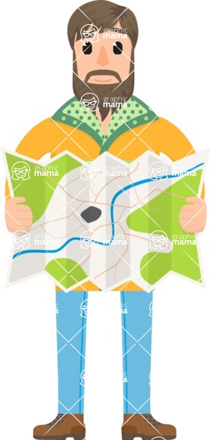 Travel Cartoon Vector Graphic Maker - Traveler with a map