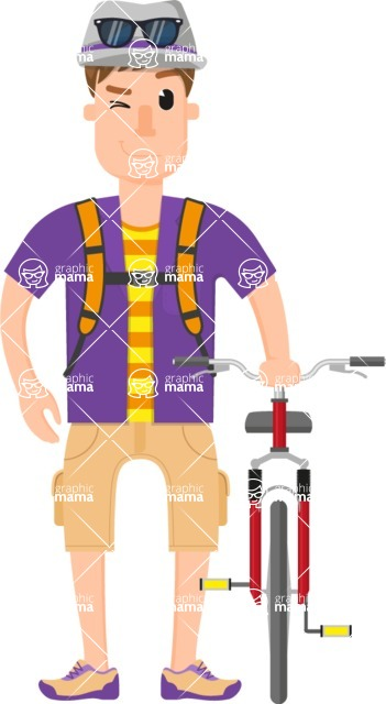 Travel Cartoon Vector Graphic Maker - Traveler with a bike