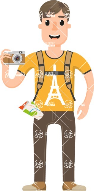 Travel Cartoon Vector Graphic Maker - Young traveler