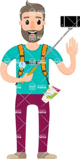 Travel Cartoon Vector Graphic Maker - Traveler guy with selfie stick