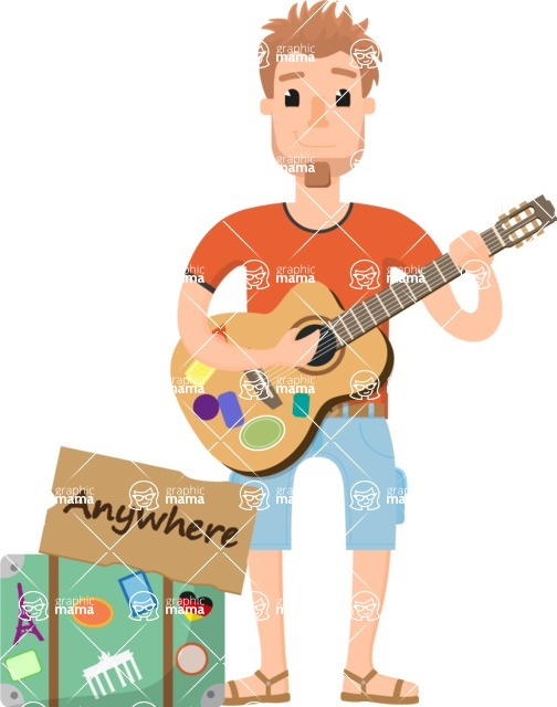 Travel Cartoon Vector Graphic Maker - Traveler with a guitar