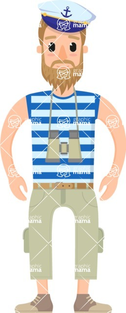 Travel Cartoon Vector Graphic Maker - Sailor traveler with camera