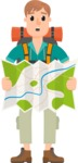 Travel Cartoon Vector Graphic Maker - Guy with backpack and opened map