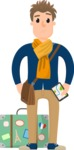 Travel Cartoon Vector Graphic Maker - Traveler with suitcase and scarf