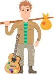 Travel Cartoon Vector Graphic Maker - hitchhiker with guitar