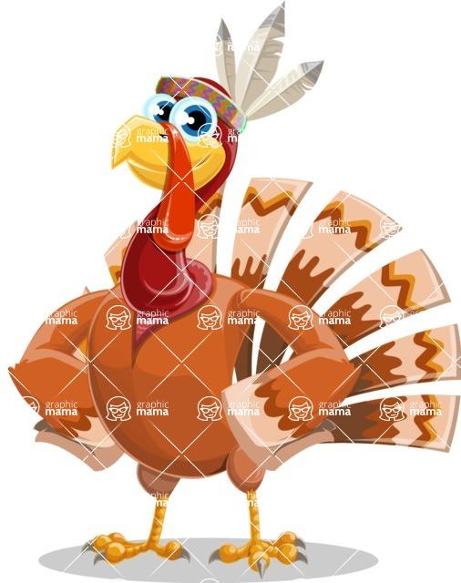 Indian Turkey Cartoon Vector Character AKA Snoody the Native Turkey - Normal