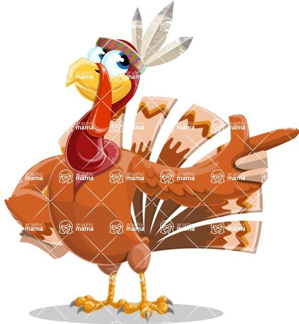 Indian Turkey Cartoon Vector Character AKA Snoody the Native Turkey - Point 2