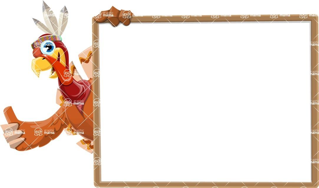 Indian Turkey Cartoon Vector Character AKA Snoody the Native Turkey - Presentation 5