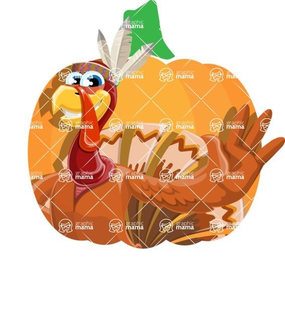 Indian Turkey Cartoon Vector Character AKA Snoody the Native Turkey - Shape 1