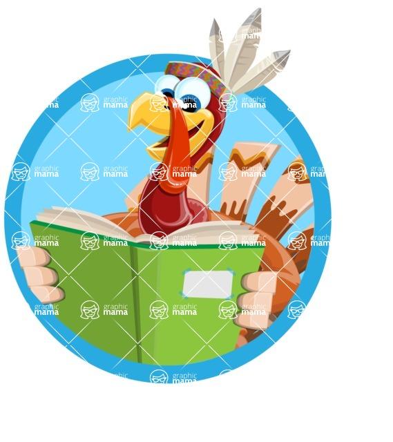 Indian Turkey Cartoon Vector Character AKA Snoody the Native Turkey - Shape 3