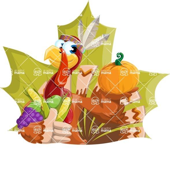 Indian Turkey Cartoon Vector Character AKA Snoody the Native Turkey - Shape 4
