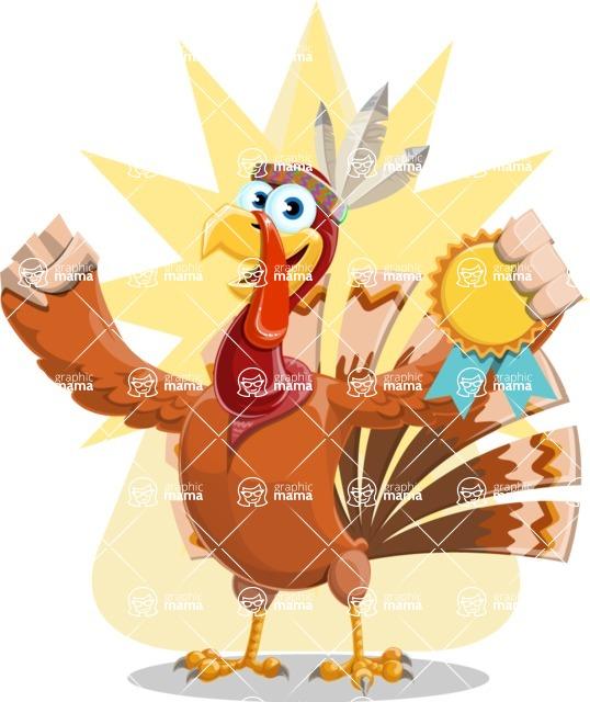 Indian Turkey Cartoon Vector Character AKA Snoody the Native Turkey - Shape 8