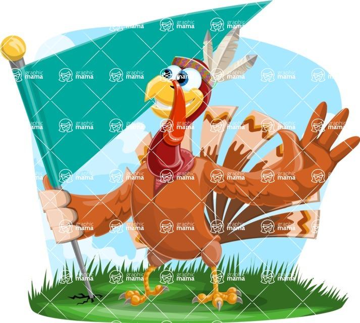 Indian Turkey Cartoon Vector Character AKA Snoody the Native Turkey - Shape 9