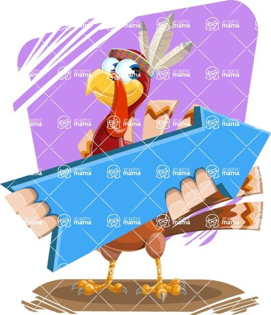 Indian Turkey Cartoon Vector Character AKA Snoody the Native Turkey - Shape 11