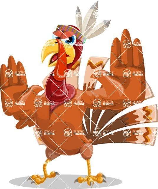 Indian Turkey Cartoon Vector Character AKA Snoody the Native Turkey - Stop