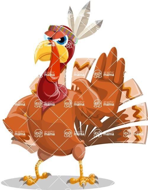 Indian Turkey Cartoon Vector Character AKA Snoody the Native Turkey - Stop 2