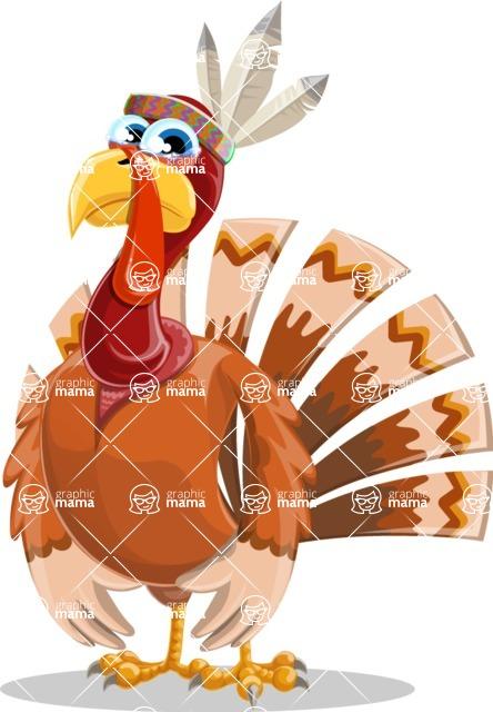 Indian Turkey Cartoon Vector Character AKA Snoody the Native Turkey - Sad