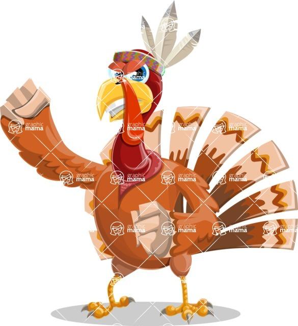 Indian Turkey Cartoon Vector Character AKA Snoody the Native Turkey - Angry