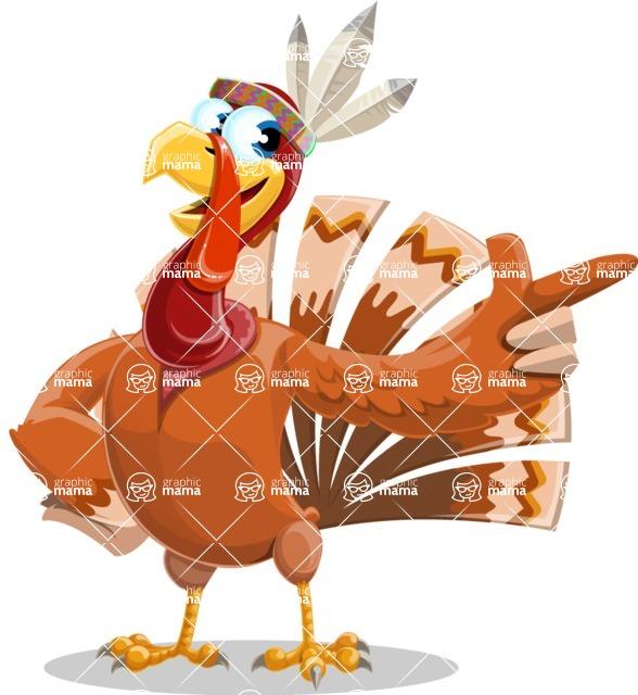 Indian Turkey Cartoon Vector Character AKA Snoody the Native Turkey - Attention