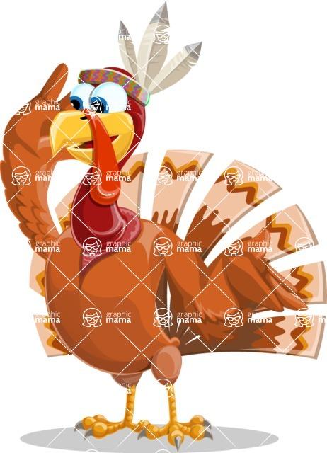 Indian Turkey Cartoon Vector Character AKA Snoody the Native Turkey - Lost
