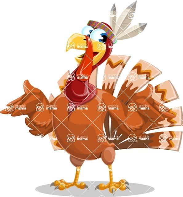 Indian Turkey Cartoon Vector Character AKA Snoody the Native Turkey - Confused