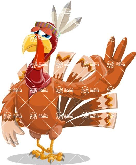 Indian Turkey Cartoon Vector Character AKA Snoody the Native Turkey - Goodbye