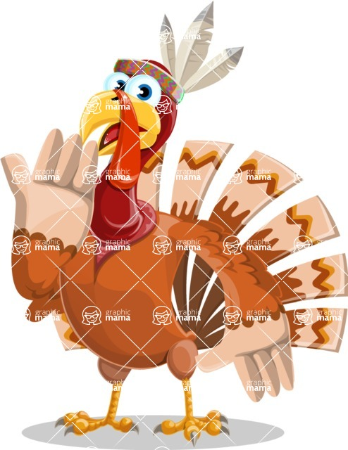 Indian Turkey Cartoon Vector Character AKA Snoody the Native Turkey - Oops