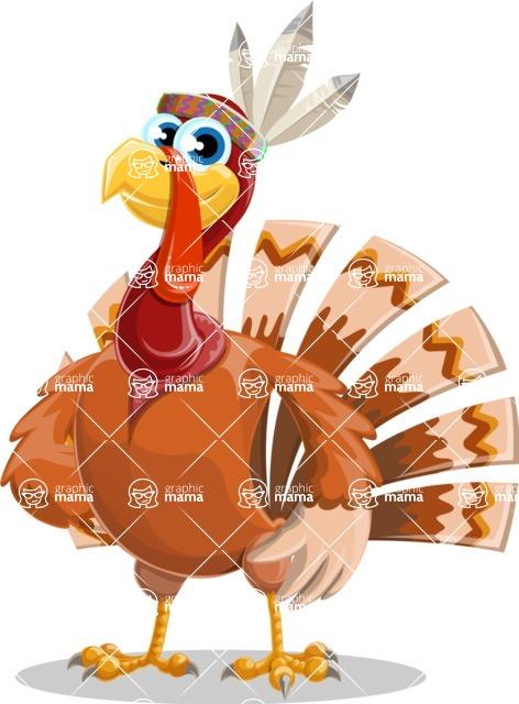 Indian Turkey Cartoon Vector Character AKA Snoody the Native Turkey - Patient