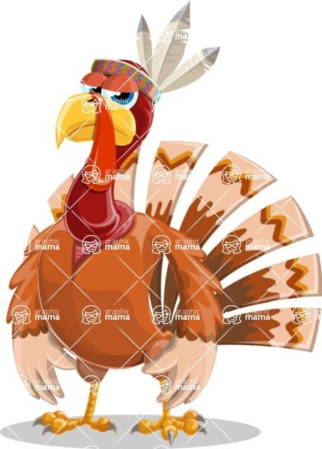 Indian Turkey Cartoon Vector Character AKA Snoody the Native Turkey - Bored