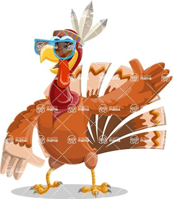 Indian Turkey Cartoon Vector Character AKA Snoody the Native Turkey - Sunglasses