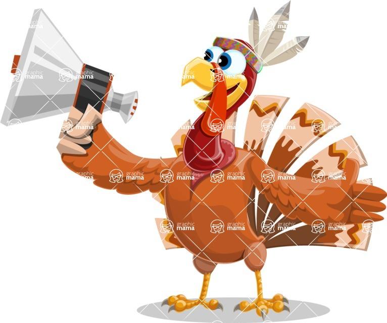 Indian Turkey Cartoon Vector Character AKA Snoody the Native Turkey - Loudspeaker